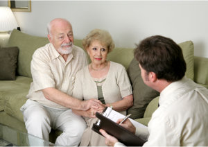 elder couple consulting medical experts